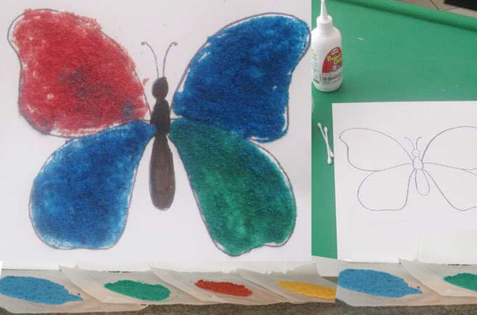 Here is a butterfly themed colored salt printable activity that is fun for kids to use their colored salt or glitter
