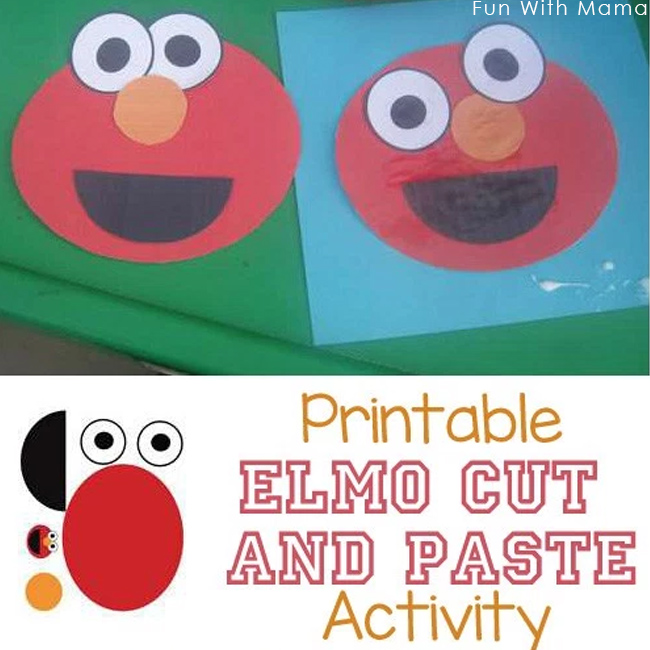 picture relating to Printable Elmo Face called Printable Elmo Craft Reduce and Paste