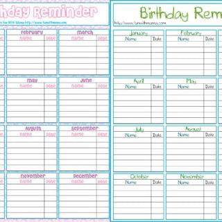 Birthday Reminder Printable