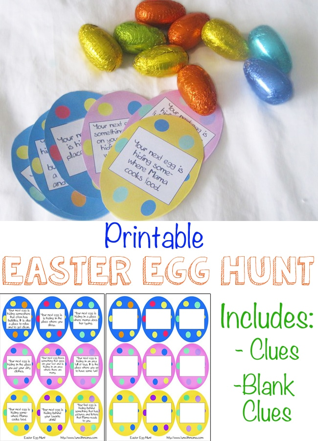 Easter Egg Hunt with Printable Clues for kids