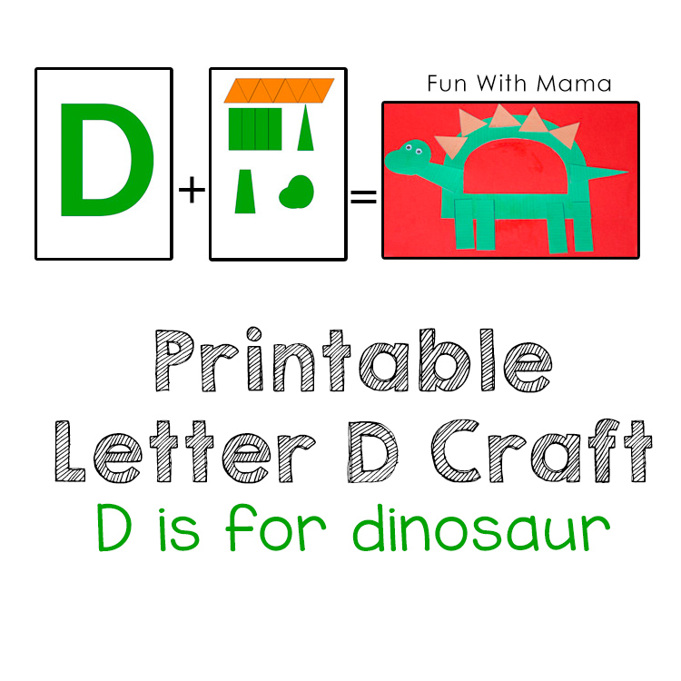photograph about Printable Kid Crafts titled Printable Letter D Crafts D is for Dinosaur - Pleasurable with Mama