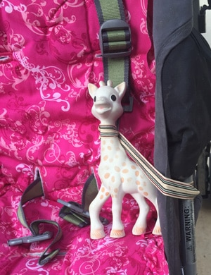 when traveling with sophie the giraffe tie elastic around her to keep her from falling