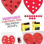 Here is a wonderful fine motor control printable activity that is perfect for Valentines Day! Toddlers and preschool children will love this sticker cut and paste activity!