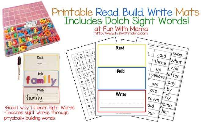 Learn Dolch Sight Words with Printable Read Build Write Mats