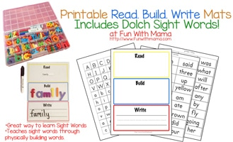 Thumbnail image for Learn Sight Words: Read Build Write Printable Activity Mats With Dolch Words