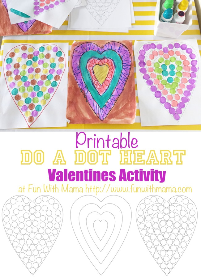 Do a Dot Markers are a wonderful kids activity for toddlers, preschool and elementary aged kids. It has many benefits which are discussed in this post and includes a heart valentines day themed printable activity.