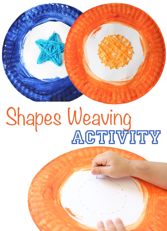 This preschool shapes themed weaving kids activity is the perfect for your shapes theme crafts and activities. This activity includes art and painting while working on fine motor skills. Kids use push pins to create holes in order to weave the shape of a heart, star, circle and square. This activity will attract not only toddlers but also preschoolers and even elementary aged kids.