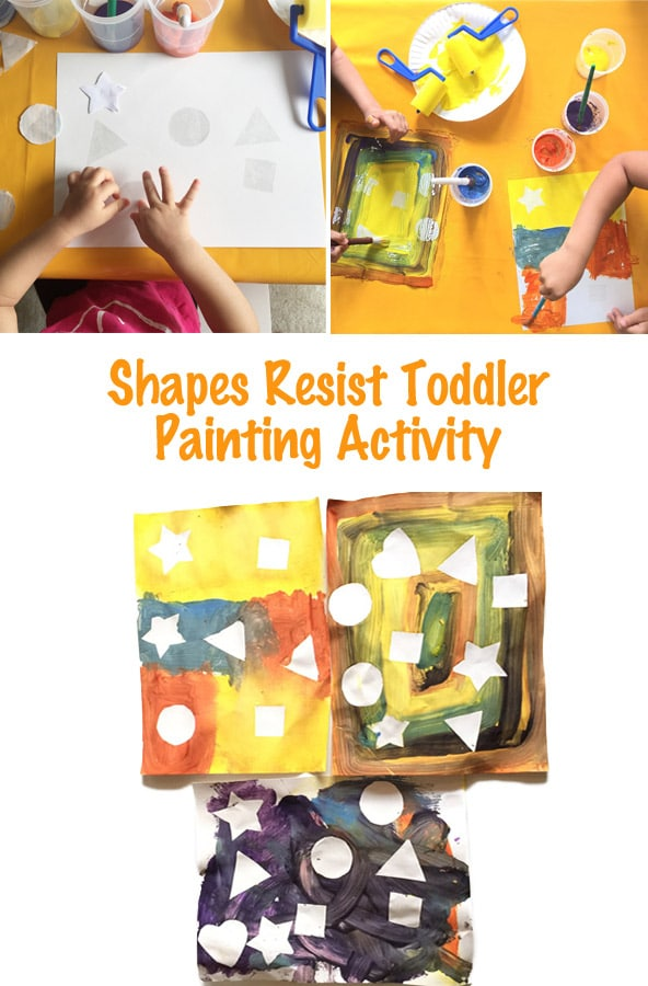 Teaching Toddler Shapes through a sensory experience of painting. Great for preschool aged kids