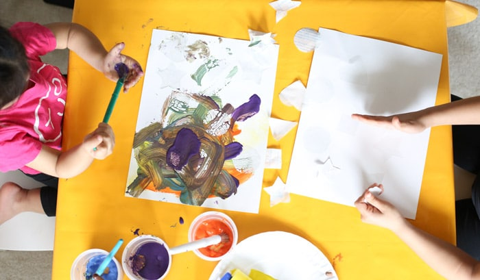 A Fun Toddler and Kids Shapes Resist Painting Activity to teach preschoolers their shapes in a fun filled way.