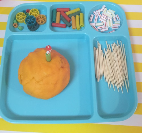 tinker tray activity with play dough for toddlers and preschoolers