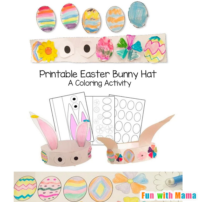 graphic about Printable Easter Craft named Bunny Hat Easter Crafts For Children - Exciting with Mama