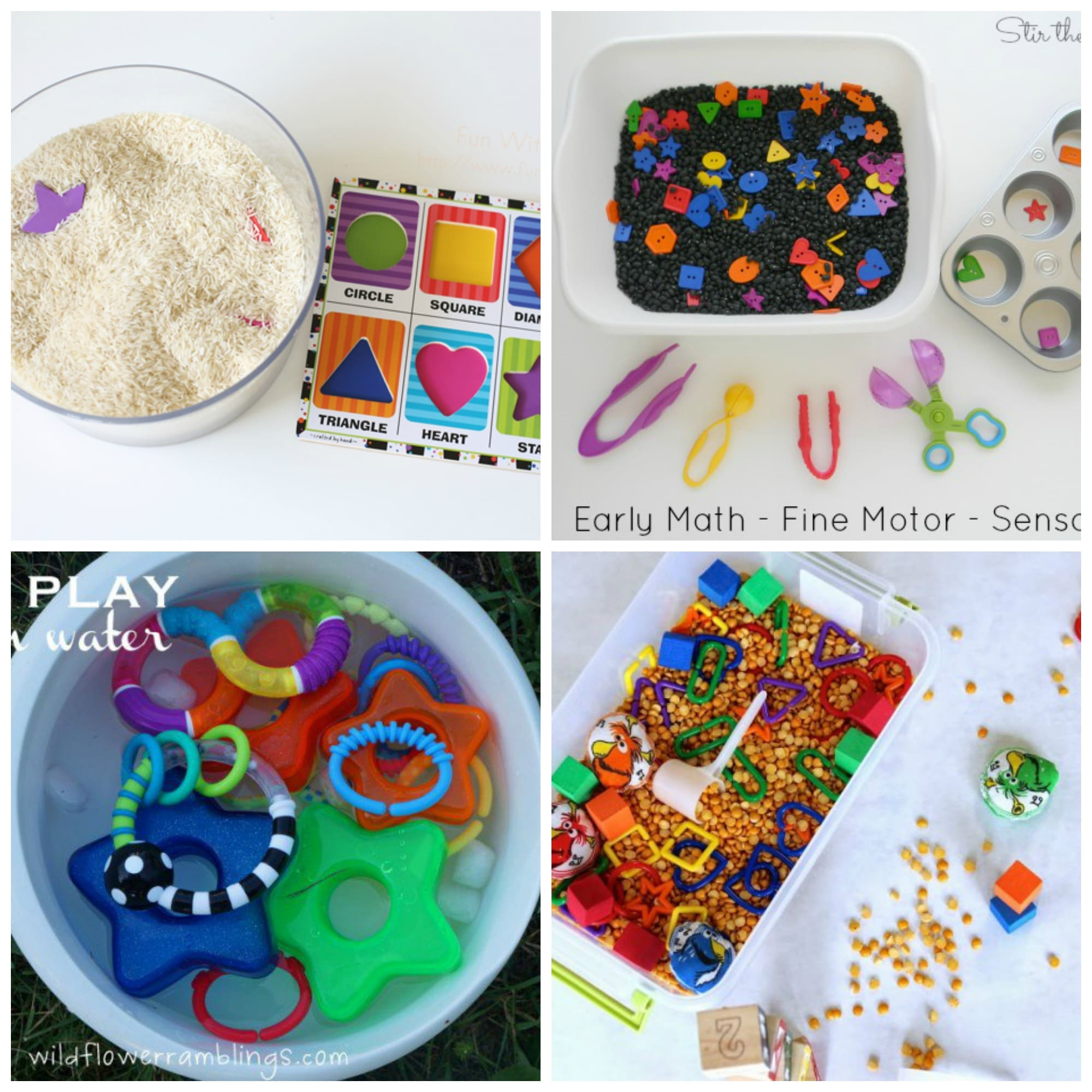 12 preschool shapes sensory bins from around the web