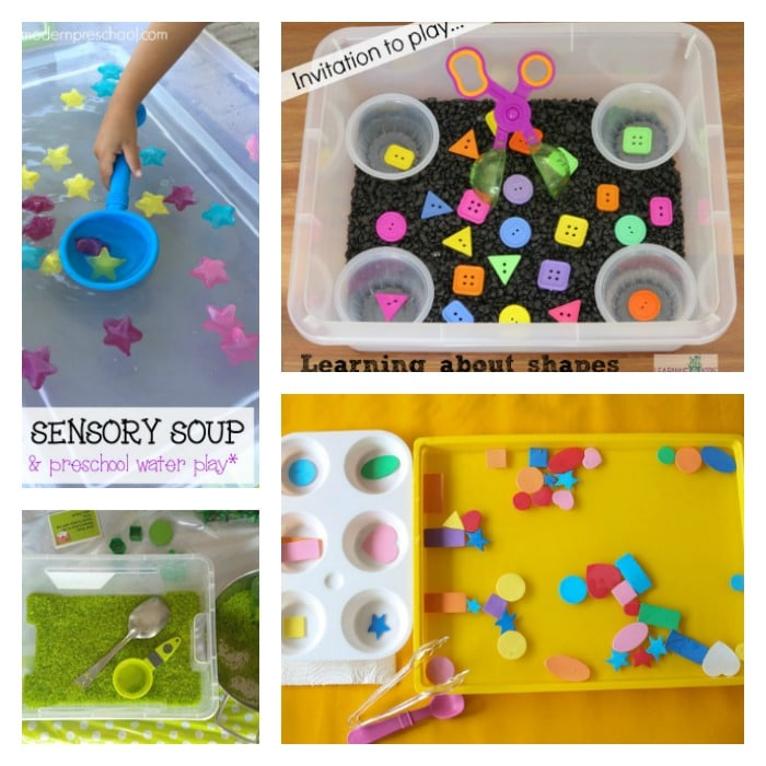 Toddlers and preschoolers can learn shapes with Sensory bins