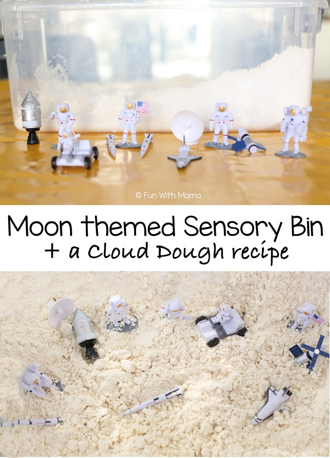 moon sensory bin with a simple and easy cloud dough recipe to create this fun space themed sensory bin.