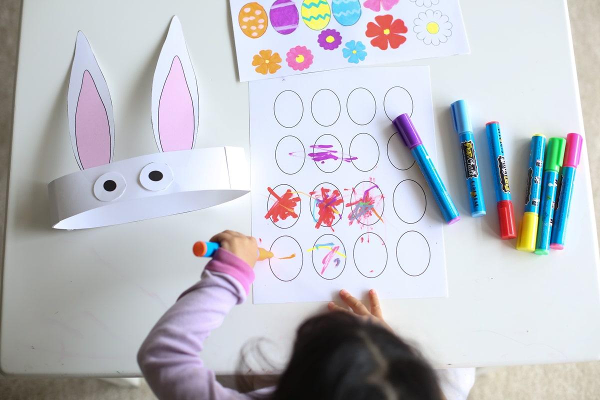 Easter bunny hat preschool activity
