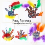 Fancy Monster Finger Paint Hand Prints