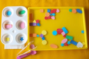 Teaching toddler and preschooler shapes through water play