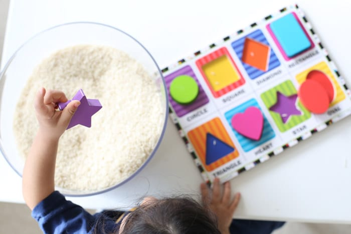 Shapes Hunt Sensory Bin on Shapes Activities Preschoolers