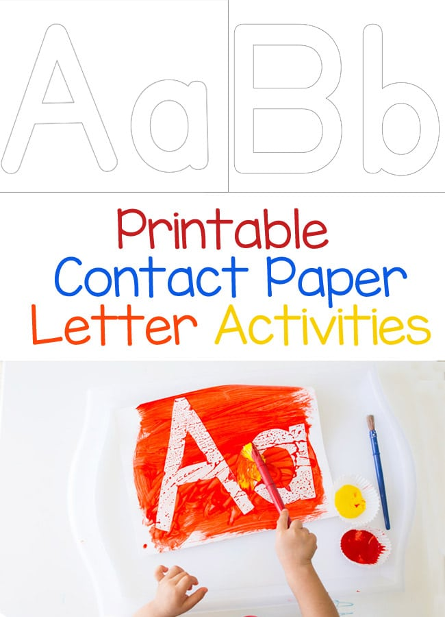 This printable contact paper alphabet letter activity is perfect for toddlers and preschool aged kids who are learning about their letters. Add this to your letter themed weekly activities for some painting fun!