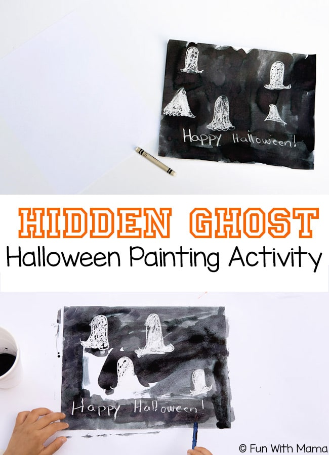 This hidden ghost halloween painting activity uses the crayon resist technique to create hidden pictures.