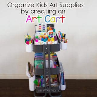 find out how to organize kids art supplies by creating an art cart. The art cart fosters open ended creativity in kids and is a boredom buster.