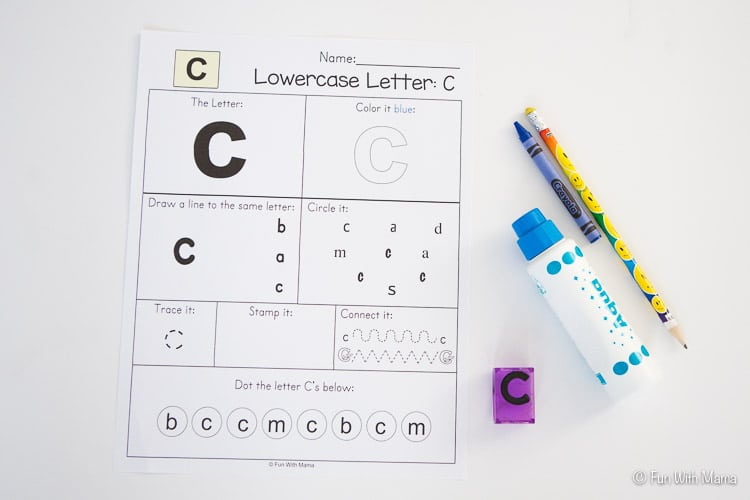 printable letter c worksheet