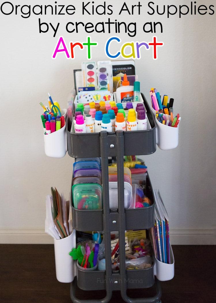 organize kids art supplies with an art cart fun with mama. Black Bedroom Furniture Sets. Home Design Ideas