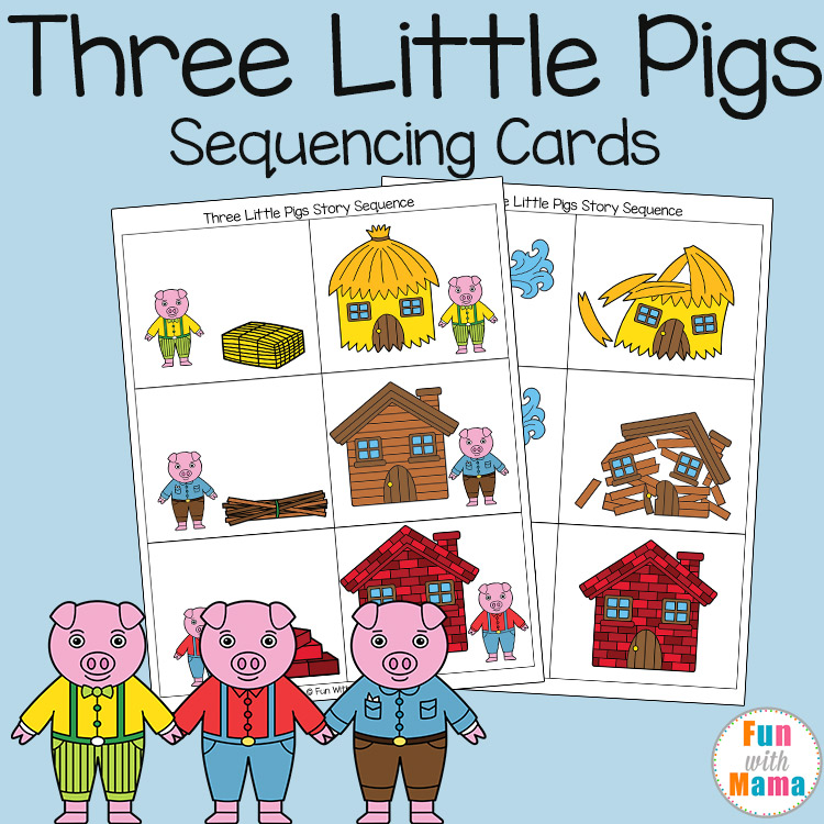graphic relating to Story Sequencing Cards Printable identified as 3 Minimal Pigs Sequencing Playing cards - Exciting with Mama