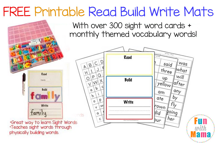 image relating to Printable Sight Word Cards named Cost-free Printable Study Develop Publish Mats + Vocabulary Playing cards