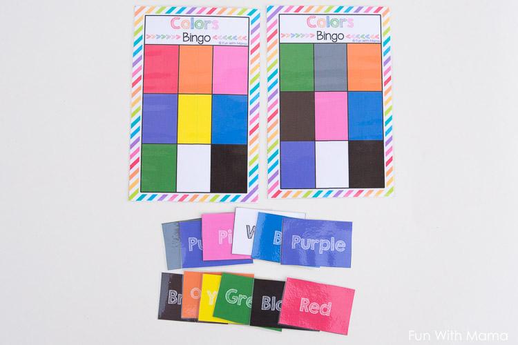 free printable color bingo cards