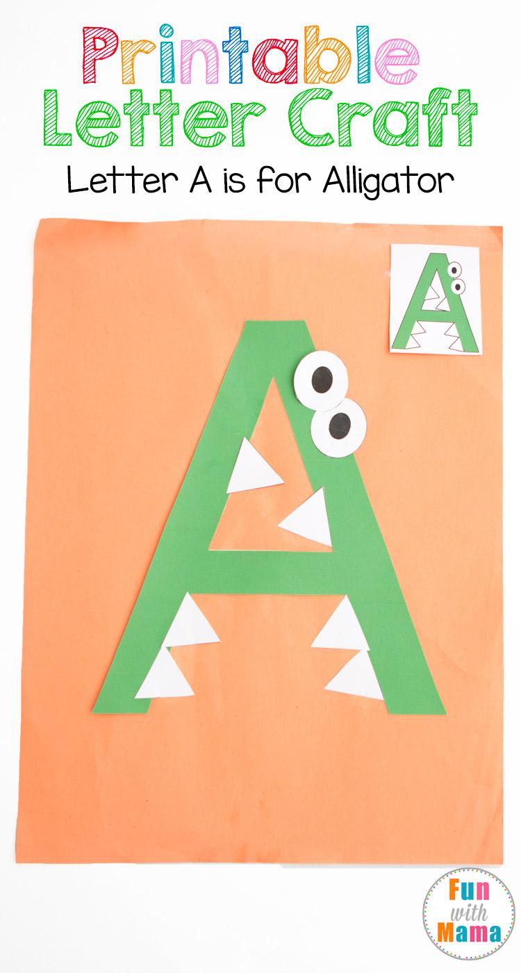 printable letter a crafts a is for alligator. Black Bedroom Furniture Sets. Home Design Ideas