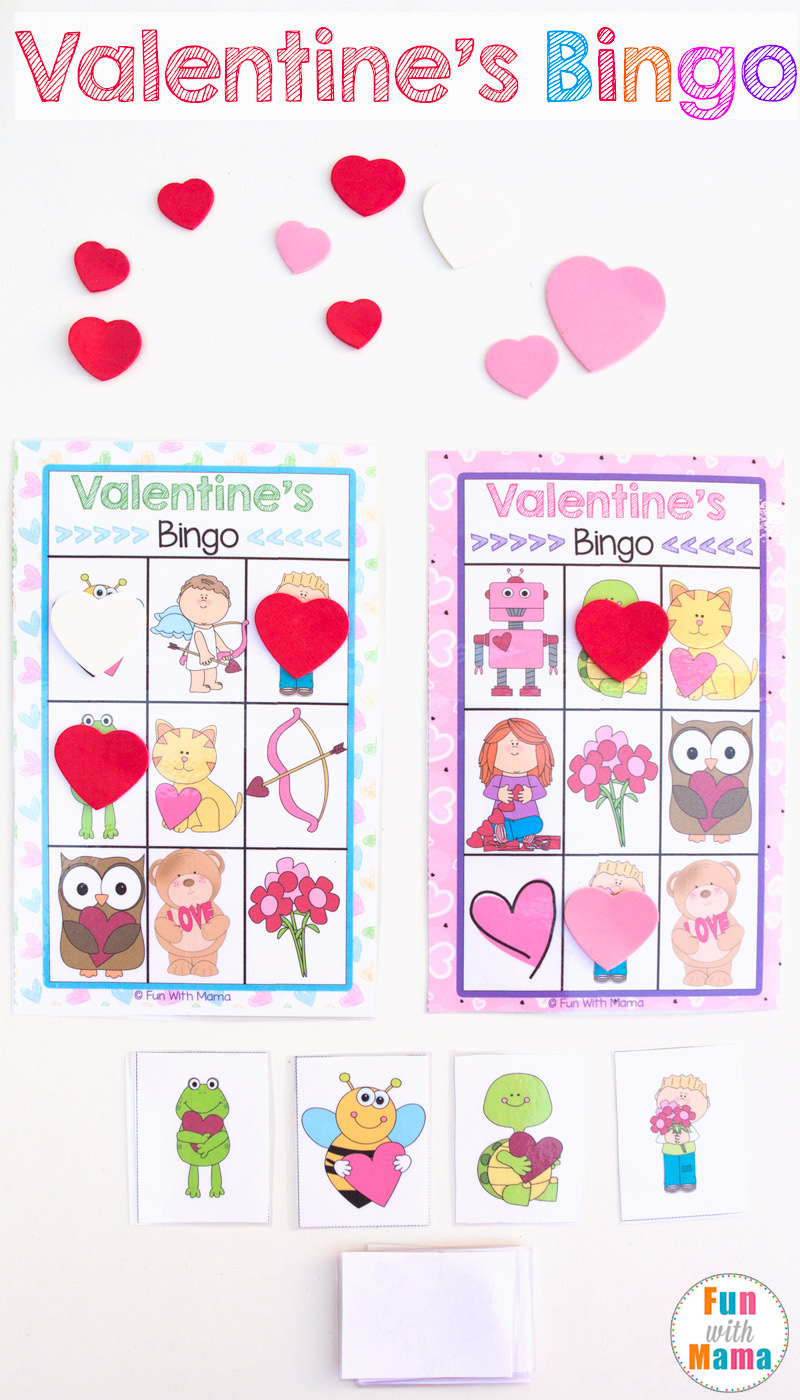 Orintable valentines bingo game