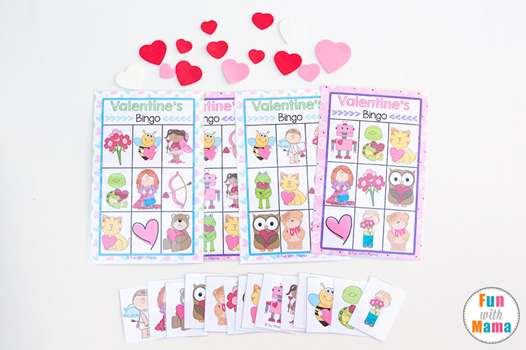 photograph relating to Printable Bingo Chips titled Printable Valentines Bingo Match - Entertaining with Mama