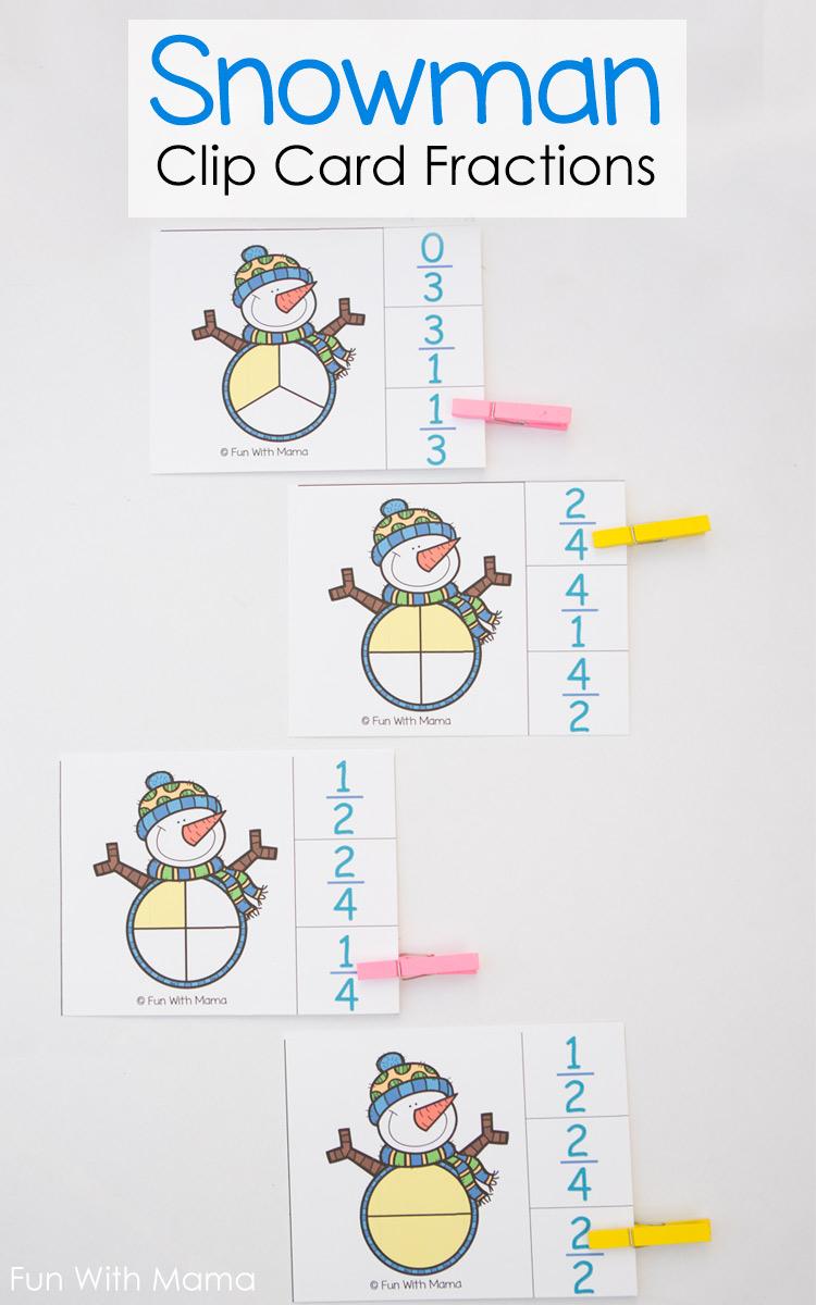 fraction clip cards