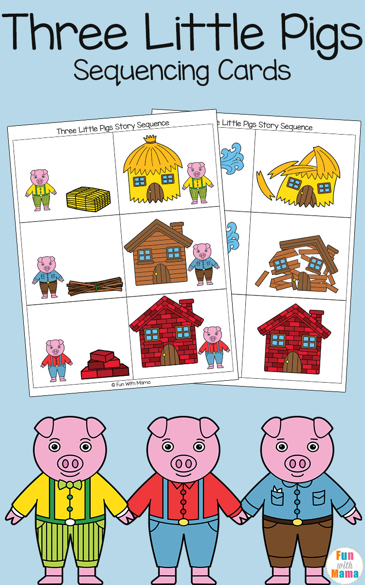 picture regarding Story Sequencing Cards Printable titled 3 Very little Pigs Sequencing Playing cards - Exciting with Mama
