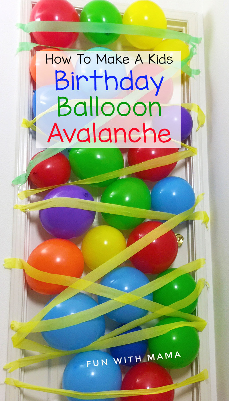 How to make a kids birthday balloon avalanche where balloons fall from the ceiling or door to make your child feel extra special. Watch the how to video too