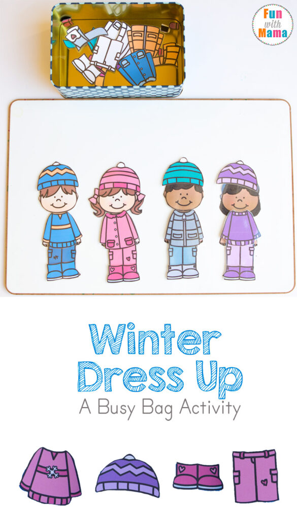 Printable Winter Dress Up X on winter clothes dress up busy bag free printable