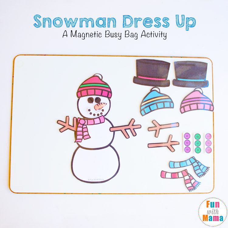 snowman dress up busy bags for kids