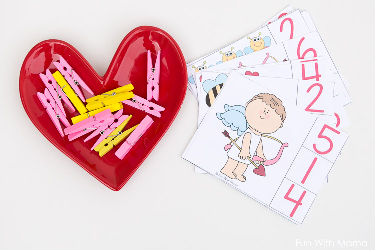 valentines clip cards preschool prek