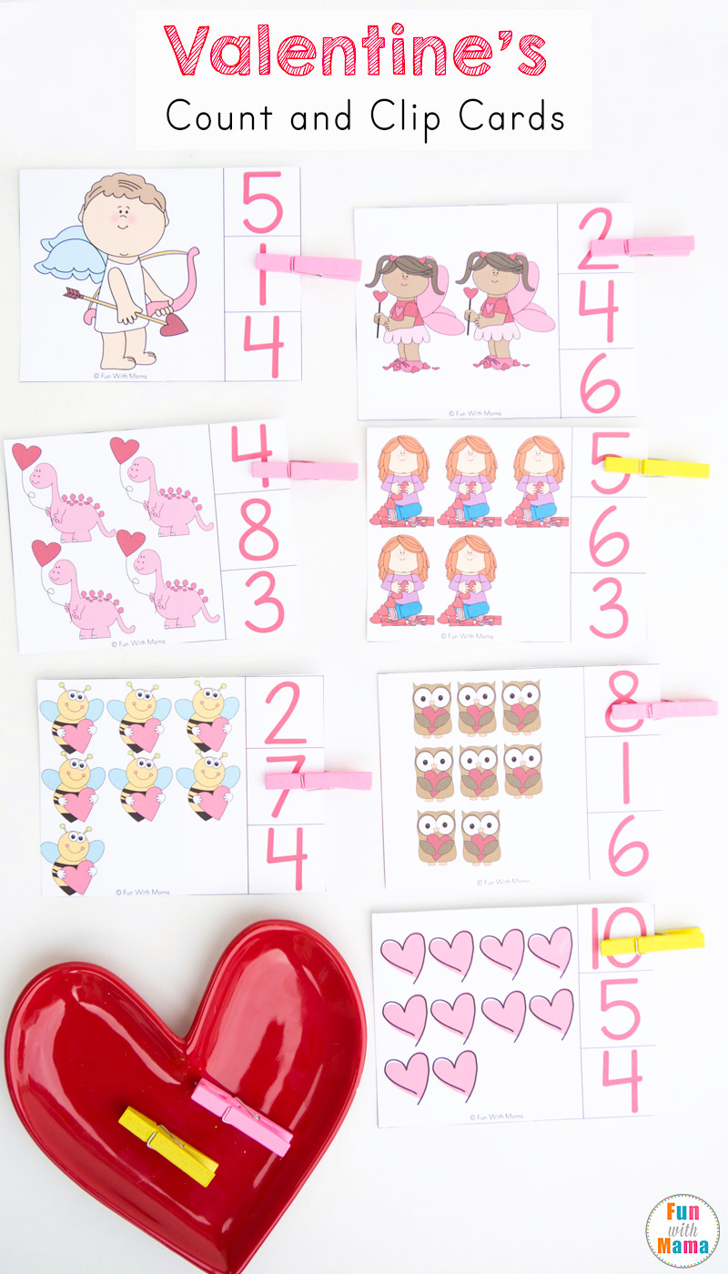 These fun free valentine's day printable number count and clip cards use clothespins to work on fine motor skills and number recognition. Perfect for Preschool, Pre-k and Kindergaren students and kids.