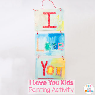 Valentine's Day Crafts I Love You Painting Activity for Kids
