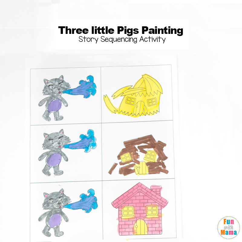 picture relating to Three Little Pigs Printable titled 3 Minimal Pigs Craft Sequencing Coloring Internet pages - Exciting with Mama