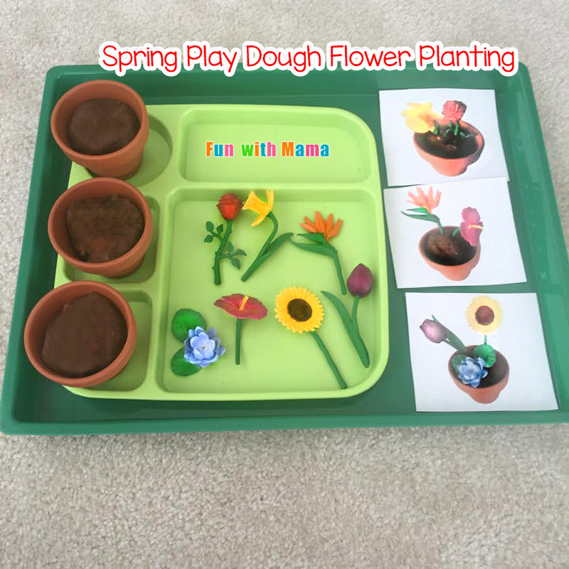Preschool Spring Flower Planting Play Dough Activity Fun With Mama