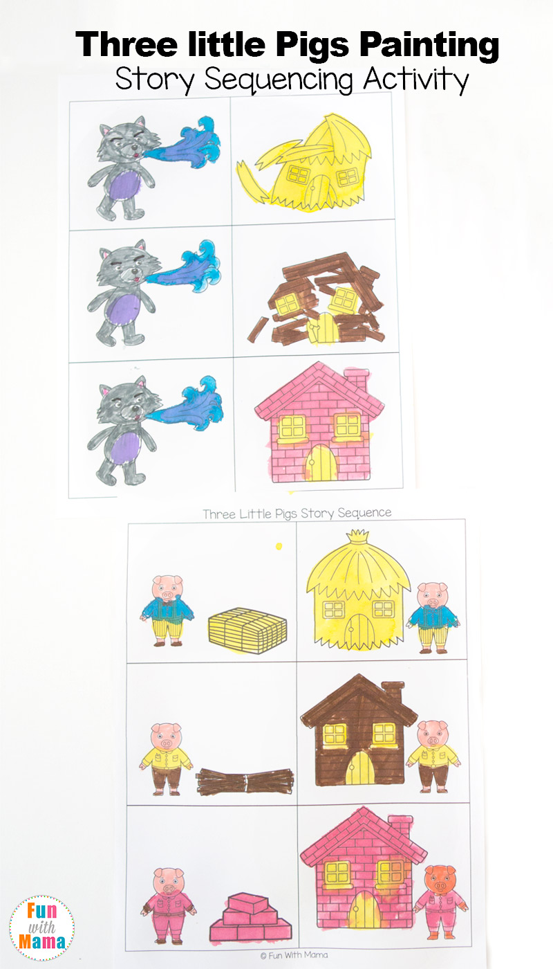 Coloring pages 3 little pigs - 3 Little Pigs Craft Sequencing Coloring Pages