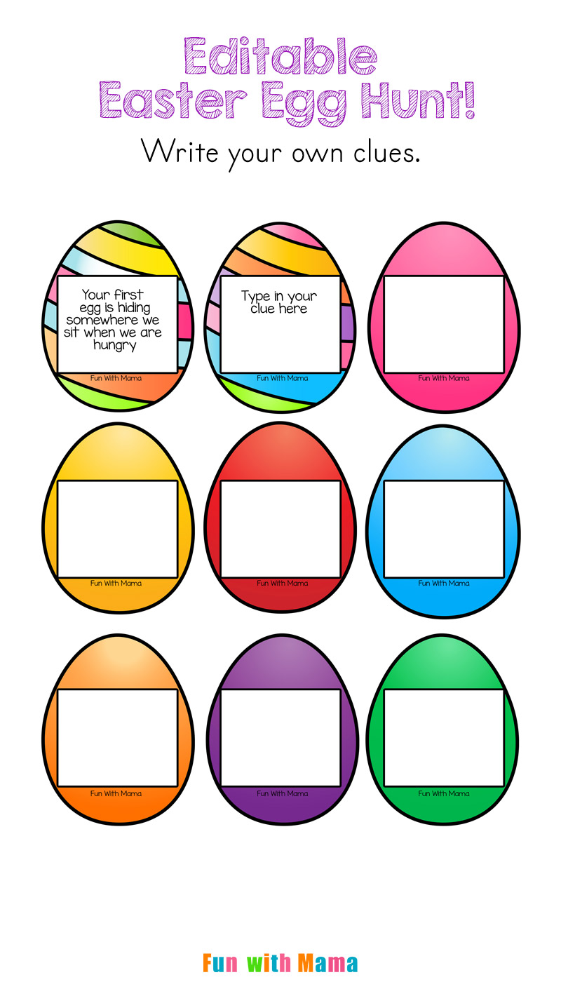 photo about Printable Easter Egg Hunt Clues called Editable Easter Egg Scavenger Hunt - Enjoyable with Mama