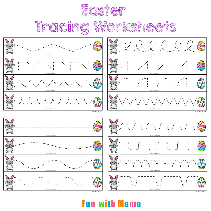 Fun Easter Worksheets : Easter tracing worksheets for preschoolers fun with mama