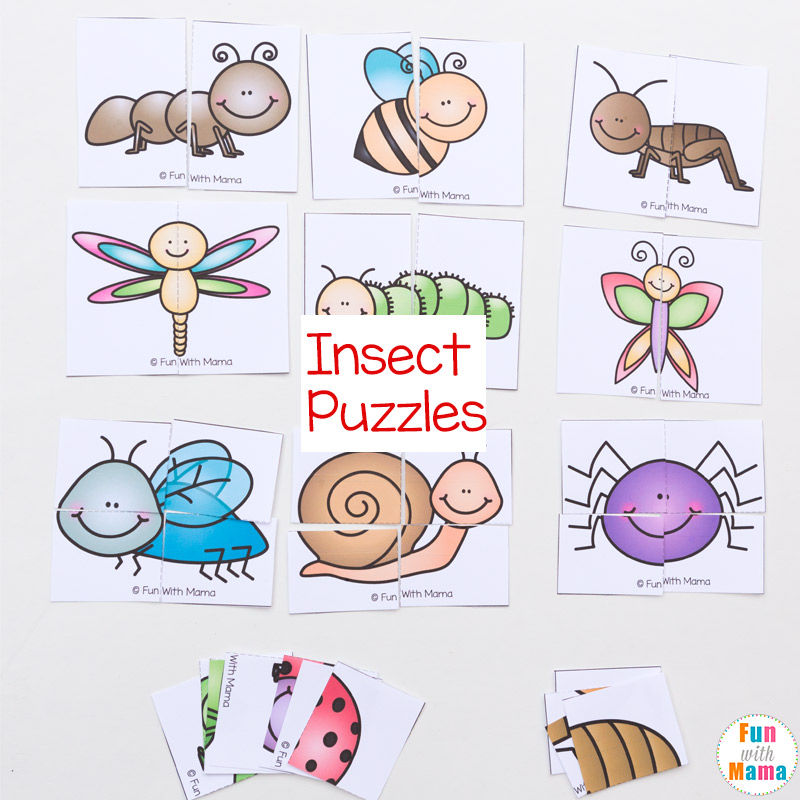 image regarding Printable Puzzles for Preschoolers called Insect Concept Printable Puzzles - Enjoyment with Mama