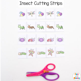 Insect Printable Cutting Strips For Preschoolers