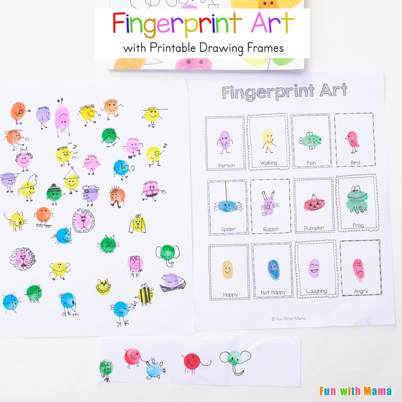 Fingerprint Art Drawing Ideas With Printable Drawing Frames Fun