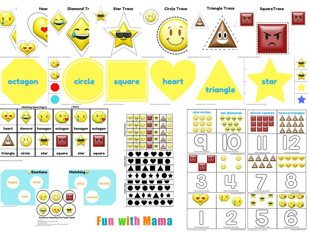 emotions shapes free printable preschool pack fun with mama
